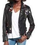 BLANKNYC, Embroidered Faux Leather Moto Jacket $168