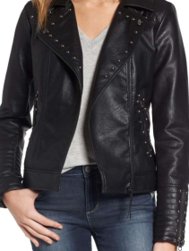 Steve Madden, Studded Faux Leather Biker Jacket $105