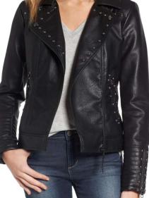Steve Madden, Studded Faux Leather Biker Jacket $105