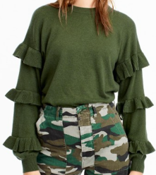 J.Crew, Sweater with Ruffle Sleeves $79.50