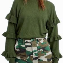 J.Crew, Sweater with Ruffle Sleeves $79.50