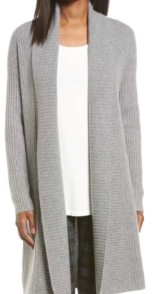 Halogen, Long Ribbed Cashmere Cardigan $299