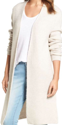 Halogen, Long Ribbed Cardigan $89