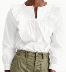 J.Crew, Ruffle-Front White Shirt $78